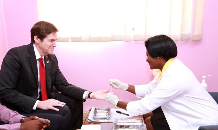 Ambassador Miller at Tebelopele Voluntary Councelling and Testing Center