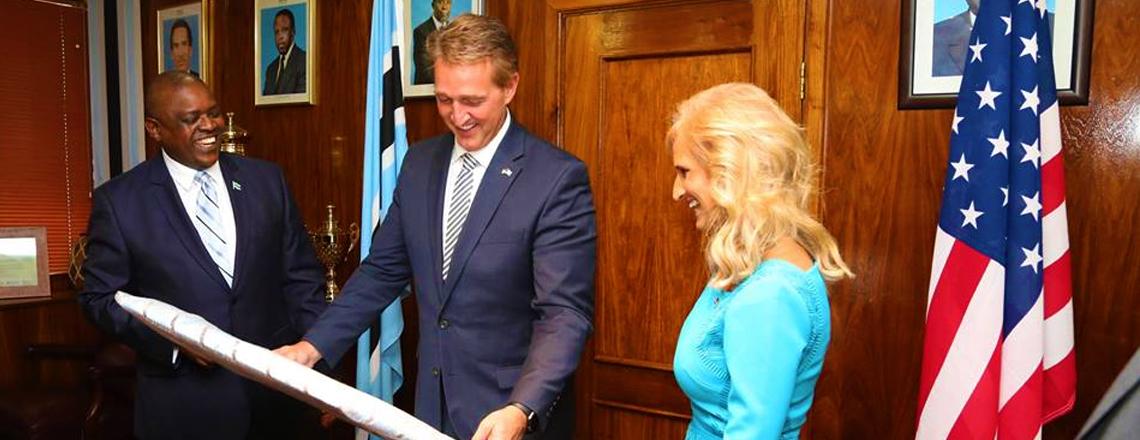 Senator Jeff Flake (R-AZ) Visits Botswana and Meets President Mokgweetsi Masisi